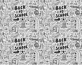 picture of tween  - Seamless Doodle Back To School Pattern