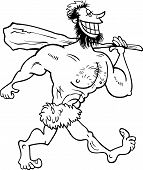 Caveman Cartoon Coloring Page