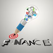 pic of dessin  - pencil lightbulb 3d icons draw graphic dessin word BUSINESS FINANCE as concept - JPG