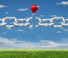 picture of shackles  - New Markets Breakthrough business concept as a group of clouds shaped as a linked chain being broken throgh by a businessman in a hot air balloon as a success metaphor for freedom from the shackles of repression and dirty air - JPG