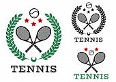 Постер, плакат: Tennis sporting emblems and symbols