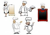 Постер, плакат: Cartoon chefs and cooks set