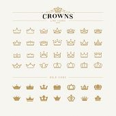 pic of crown  - Set of vector crown line and bold icons - JPG