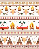 foto of peace-pipe  - Vector Seamless Tribal Native American Indian Borders for Clothing Design - JPG