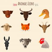 stock photo of animal husbandry  - Farm Animals Icons on White Background in Flat Style - JPG