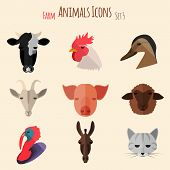 image of husbandry  - Farm Animals Icons on White Background in Flat Style - JPG