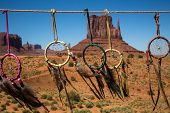 stock photo of dreamcatcher  - Dreamcatchers with the buttes of Monument Valley in the background - JPG