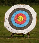 image of archery  - Archery target in the nature with archery arrows - JPG