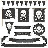 pic of skull crossbones flag  - set of black pirate flags banners bunting and ribbons isolated on white - JPG