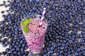 pic of mints  - Blueberry smoothie in a glass jar with a straw and sprig of mint with fresh berries - JPG