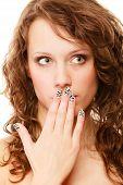 stock photo of embarrassing  - Speak no evil concept - JPG