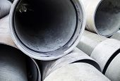 stock photo of orifice  - Close up of the new industrial pipes in the stack - JPG