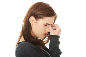 image of sinuses  - Young woman with sinus pressure pain - JPG