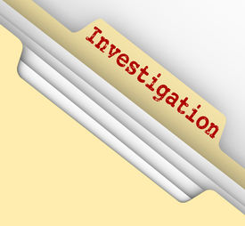 stock photo of investigation  - Investigation word typed on a manila file folder tab to store your findings - JPG