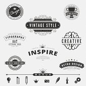 stock photo of logo  - Retro Vintage Labels Logo design vector typography inspiration template set - JPG