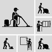 picture of janitor  - Cleaner Man working Vector Pictogram Figure icons  - JPG