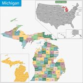 stock photo of political map  - Map of Michigan state designed in illustration with the counties and the county seats - JPG