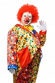 foto of clown face  - Portrait of a smiling clown isolated on white - JPG