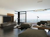 picture of lounge room  - 3D Rendering of Large living room overlooking countryside through a floor - JPG