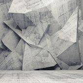 stock photo of polygon  - Abstract concrete 3d interior with chaotic polygonal relief pattern on the wall - JPG