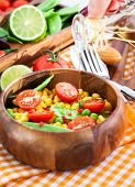 image of sweet pea  - Fresh salad with sweet corn green peas tomato and chilli pepper