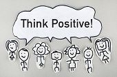 foto of positive thought  - Group of sketch people say think positive - JPG