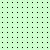 picture of mint-green  - Seamless vector pattern with small tile black polka dots on mint green background for decoration wallpaper - JPG