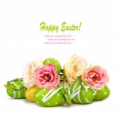 stock photo of egg whites  - Easter eggs and fun bouquet of flowers isolated on white background - JPG