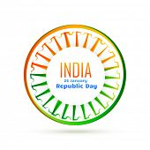 picture of indian flag  - vector indian wheel with tri colors of indian flag - JPG