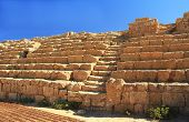 image of great horse  - Hippodrome steps and seat ruins in Caesarea Maritima National Park - JPG