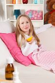 picture of licking  - Sick funny little girl licking the lemon - JPG