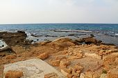 picture of promontory  - Ruins of Herods promontory palace pool in Caesarea Maritima National Park - JPG