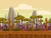 stock photo of cloudy  - Seamless cartoon nature landscape - JPG