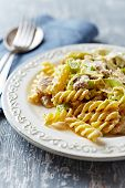 stock photo of leek  - Fusilli with mushrooms - JPG