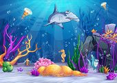image of animated cartoon  - Illustration of the underwater world with a funny fish and hammerhead shark - JPG