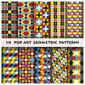 picture of octagon shape  - Pop Art Geometric Background Pattern Desing Template - JPG