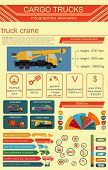 stock photo of dumper  - Cargo transportation infographics trucks lorry - JPG