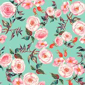 foto of blue rose  - Hand drawn watercolor floral  seamless pattern with tender pink roses in vector on the light blue background - JPG