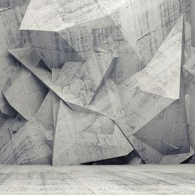 image of surrealism  - Abstract concrete 3d interior with chaotic polygonal relief pattern on the wall - JPG