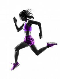 picture of jogger  - one caucasian woman runner running jogger jogging  in studio silhouette isolated on white background - JPG