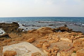 foto of promontory  - Ruins of Herods promontory palace pool in Caesarea Maritima National Park - JPG