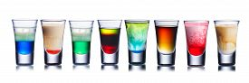 foto of shot glasses  - Collection of alcoholic cocktails in shot glasses - JPG