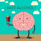 stock photo of unhealthy lifestyle  - Sad brain character not willing to drink wine - JPG