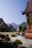 foto of ban  - buddhist temple and mountains at ban Phatang - JPG