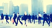 image of hustle  - Business People Rush Hour Walking Commuting City Concept - JPG