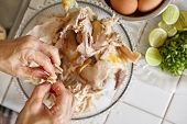 image of chickens  - Shredded chicken for the ingredient for Soto - JPG