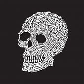 stock photo of worm  - Abstract Doodle Worm Skull - JPG