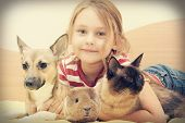 stock photo of guinea pig  - child and a cat and a dog and guinea pig in a retro style - JPG