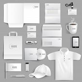 stock photo of visitation  - White corporate identity stationery set with realistic lighter cup and visit cards isolated vector illustration - JPG