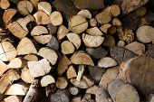 foto of firewood  - Piles of firewood in a storage - JPG